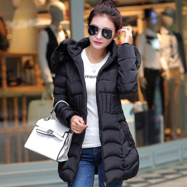 Novo 2016 Casacos de Inverno Mulheres Jaquetas Senhoras Down & Parkas Gola De Pele Grossa de algodão com capuz jaqueta outwear mulher