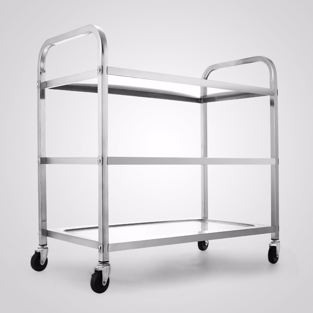 Commercial Bus Cart Kitchen Food Catering Rolling Dolly 3 Shelf ...