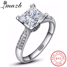 LMNZB, роскошное, 2,5 карат, твердое, 925 пробы, серебро, Halo, обручальное кольцо, принцесса, огранка, CZ камень, модное ювелирное изделие для женщин LR038