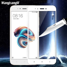 цена на wangcangli 3D full tempered glass for XIAOMI Mi A1 Screen protection glass film HD for mi a1 Mobile phone protective Silk 9h