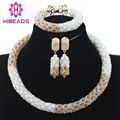 Gorgeous White and Gold African Choker Necklace Set Bridesmaid Party Events Jewelry Set African Wedding Free Shipping WD928