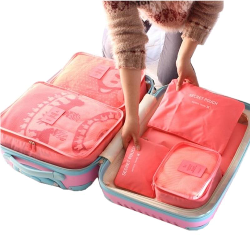 6 pcs Saco de Armazenamento de Viagem Definido Para Roupas Wardrobe Tidy Organizador Mala Bolsa de Viagem Saco Organizador Caixa de Sapatos Embalagem Cubo saco