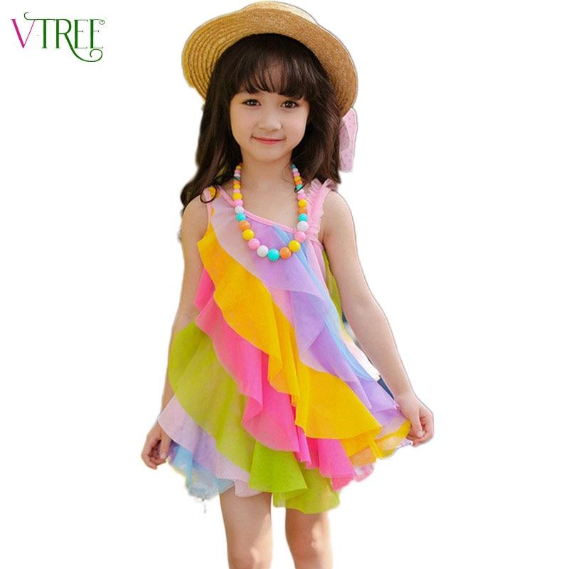3f9af57a1 V-TREE الصيف 2018 فساتين للفتيات أزياء الأطفال قوس قزح اللباس الدانتيل  الاطفال فساتين للبنات الطفل فستان الشمس