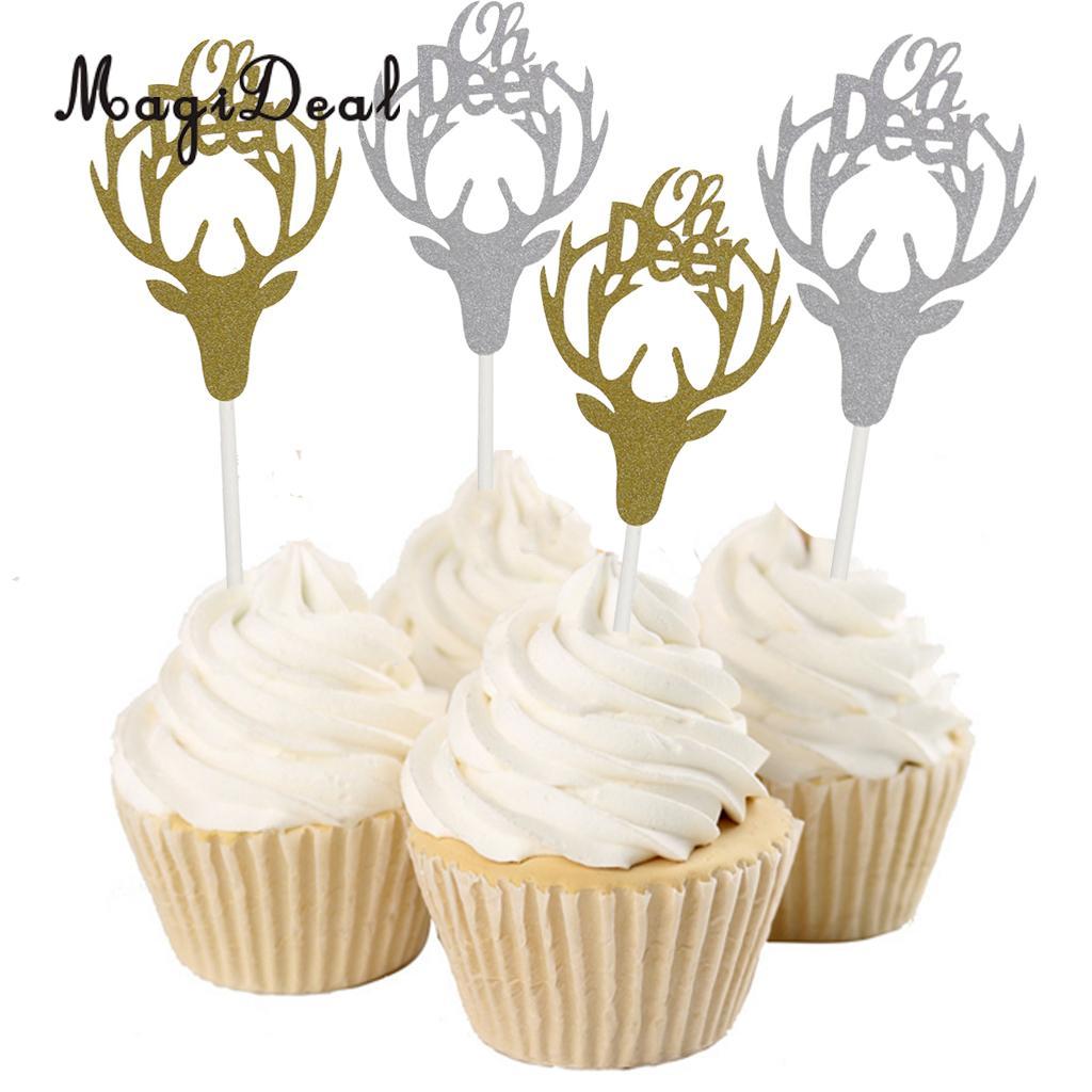 10 Pieces Glitter Deer Head Cupcake Topper Sticks Food Picks Christmas Kids Birthday Party Cake Centerpiece