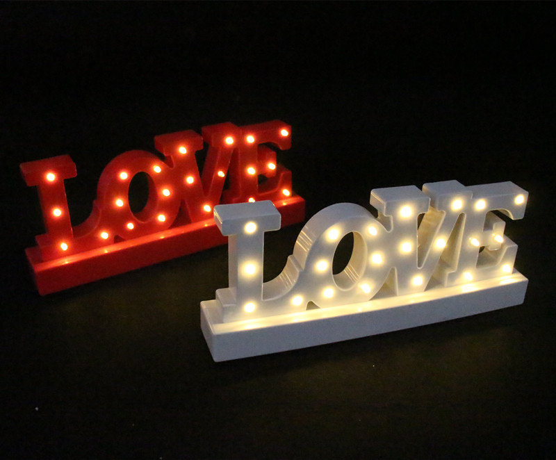 12wide mini white red plastic love led marquee sign light up adhesive love letter