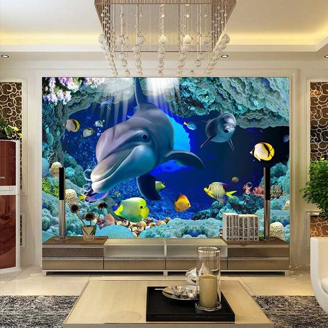 New Fashion Design 3D Dolphin Wall Mural Wallpaper Kids Room Wall  Underwater World Wallpaper Home Decoration