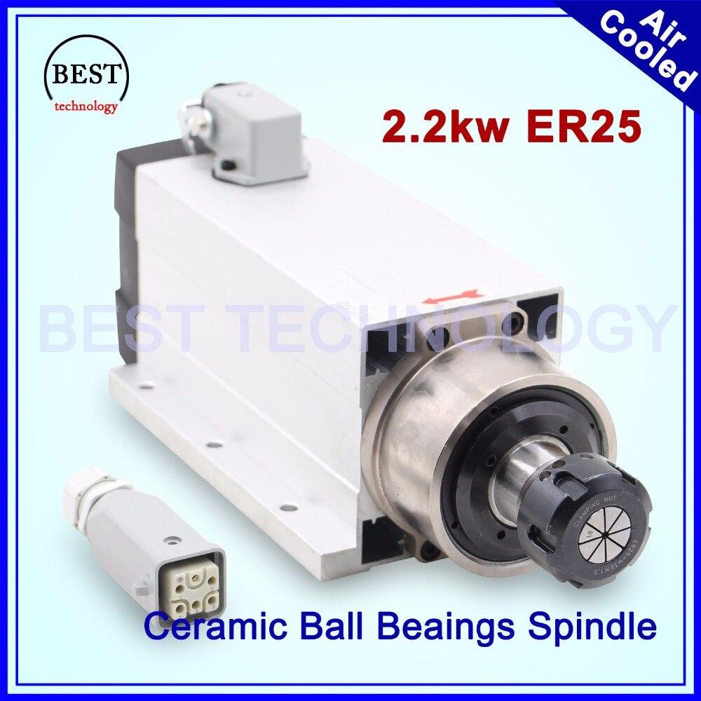 Chegada de novo! ER25 2.2kw refrigerado a ar do eixo do motor com flange CNC 220 v de refrigeração de ar de cerâmica rolamentos de esferas de precisão do eixo 0.01mm