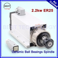 New Arrival 2 2kw ER25 Air Cooled Spindle Motor With Flange CNC 220v Air Cooling Ceramic
