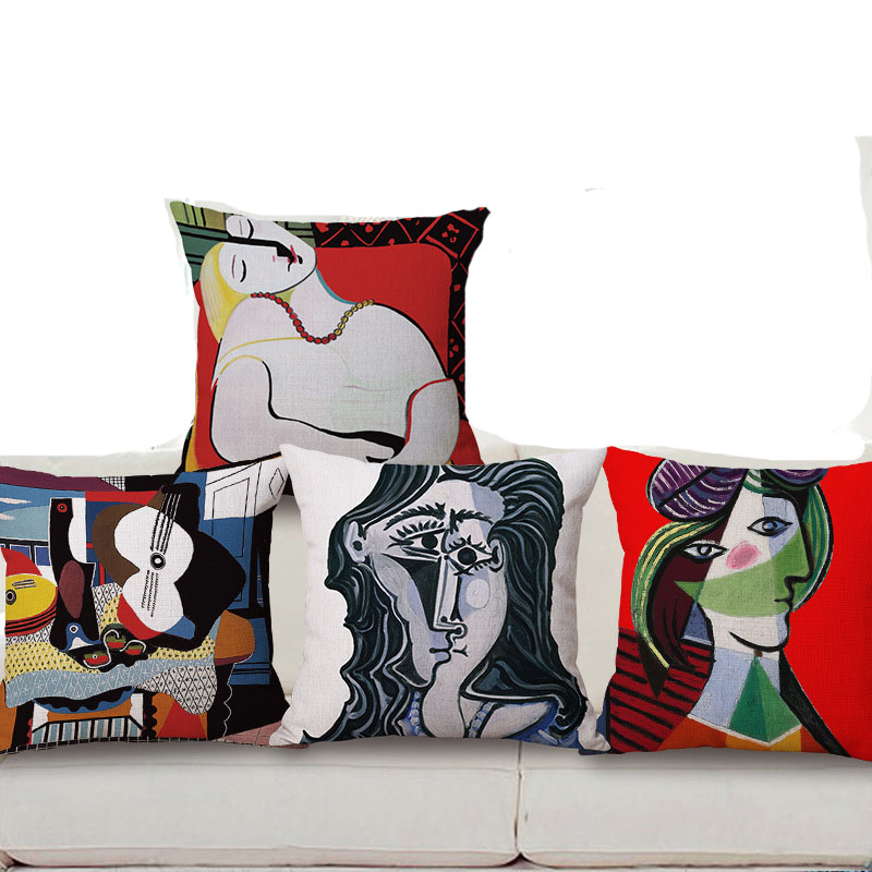 World Famous Paintings Picasso Coshion Covers One Side Printing Home Decor Sofa Car Seat Decorative Cushion Cover Pillow Case