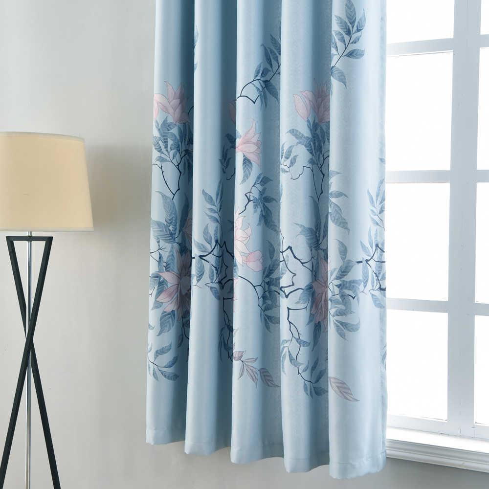 Пион цветок короткое Окно Шторы для кухонный настенный сад шторы элегантный синий затемненные шторы для гостиной PC022D3