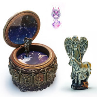 2017 Hot Sale Retro Twelve Constellations Resin Castle In The Sky Music Box Birthday Gift 0927