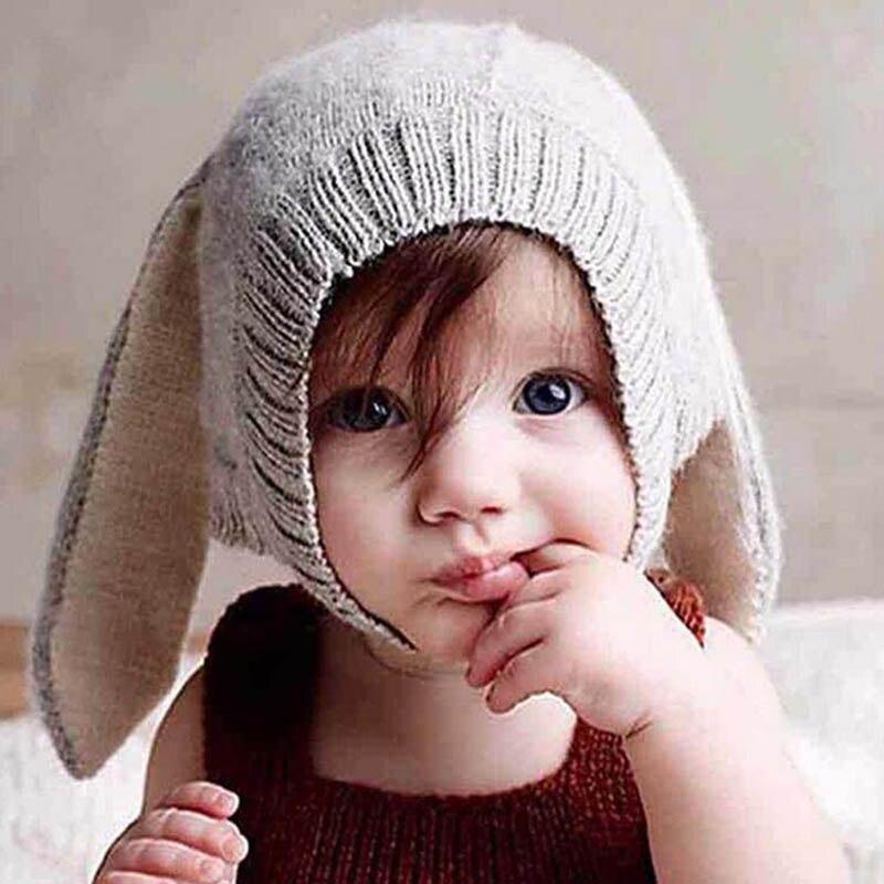 Дети Детские младенческой Hat Кепки кроличьи уши Вязание для осень-зима фотографии JL