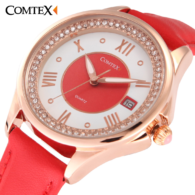 Comtex Women Watch Casual Leather Strap Wristwatch Girl's Quartz Waterproof Calendar Watches Crystal Red Pink Gift Lady Clock