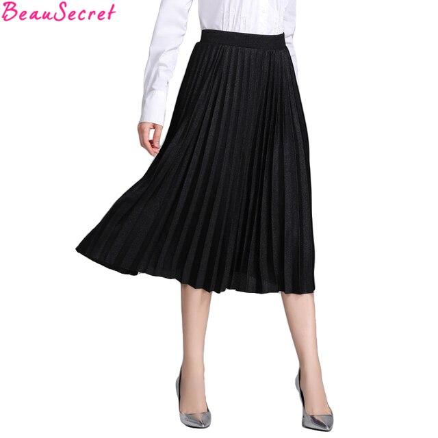 Vintage Plissée Jupe Femmes Taille Haute Tutu Jupes 2018 Automne Hiver Mode  Noir Jupe Longue