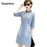 Ryseleco Brand New 3 4 Sleeve Spring Women Elegant Denim Dress Vintage Bleached A Line Super