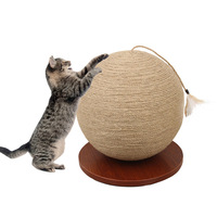 Funny Cat Playing Toy Wooden Bottom Plate Straw Grinding Claw Climbing Frame Cat Toy Scratch Board With Sisal Hanging Ball