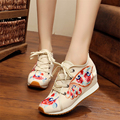 National wind women's shoes embroidered shoes flat comfortable canvas female shoes ladies plus size canvas shoes