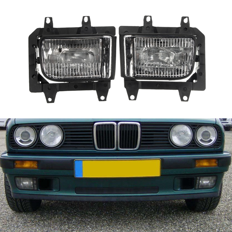 2Pcs Bumper Front Crystal Clear Fog Light Cover For BMW E30 318i 318is 325i 325is ownsun innovative super cob fog light angel eye bumper cover for skoda fabia scout
