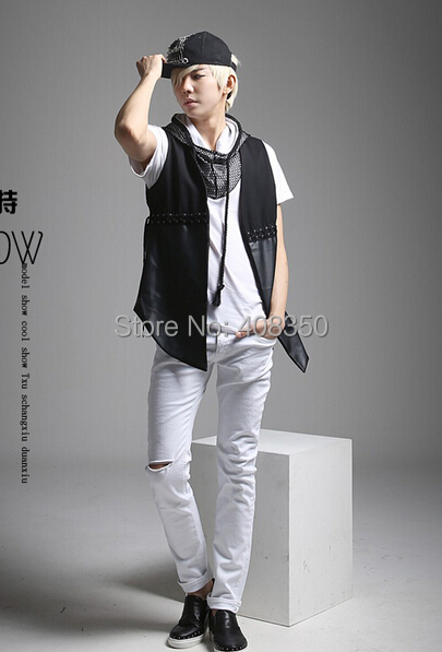 Reticularis Hooded T-shirts Men\'s Black White Brand Short Sleeve Summer Top Tees 2015 Costume Casual Masculina Camiseta Hombre (8).jpg