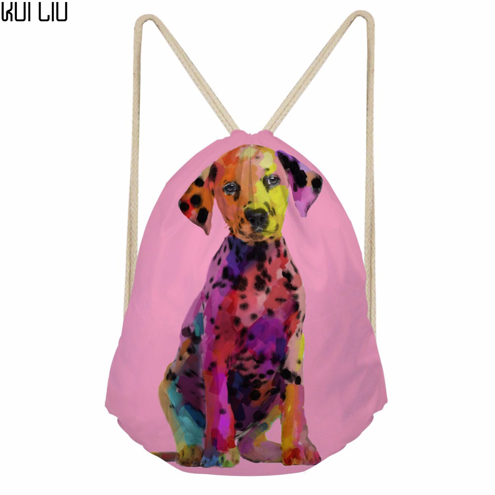 Customized My Little Dalmatian Dog Pattern Women Small Drawstring Bag For Children Softback Student School Backpack Mochila
