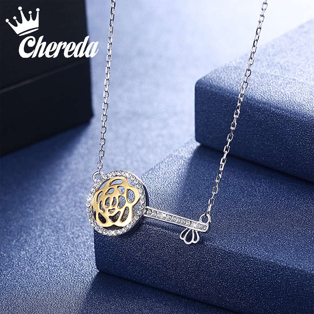 925 Silver Key Crystals from Swarovski Pendant Delicate Simple Fashion Necklace Punk Bar Chain Necklaces Women Fine Jewelry