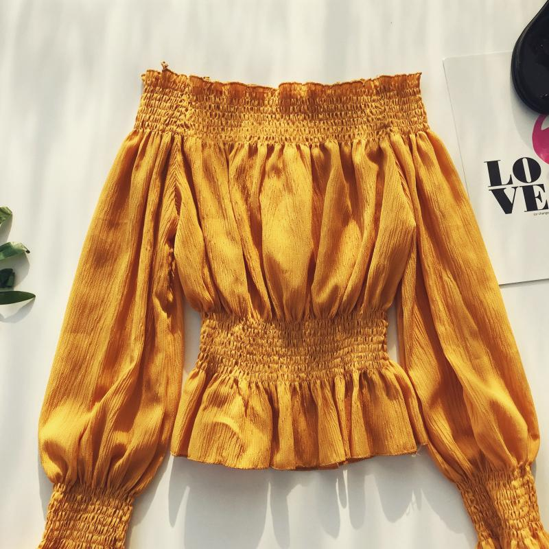 2019 spring new women pure color slash neck elasticity waist lantern sleeve blouses shirt female elegant sweet slim shirts tops 14
