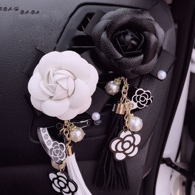 Car Perfume Camellia Air Freshener Fragrance Clip Auto Air Condition Vent Perfume Tassels Pendant Ornament Car Smell Accessories