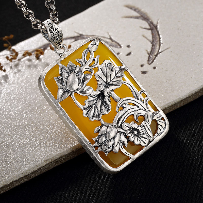 2018 Hot Sale Direct Selling Coin, Antique, Matte, Lotus, Mosaic Chalcedony, Pomegranate, Silver, Long Sweater Chain Pendant.