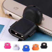 Android Robot Shape Micro USB OTG Adapter Converter For Samsung Galaxy S3 S4 S5 Smartphone Tablet MP3 MP4 PC Mouse Keyboard