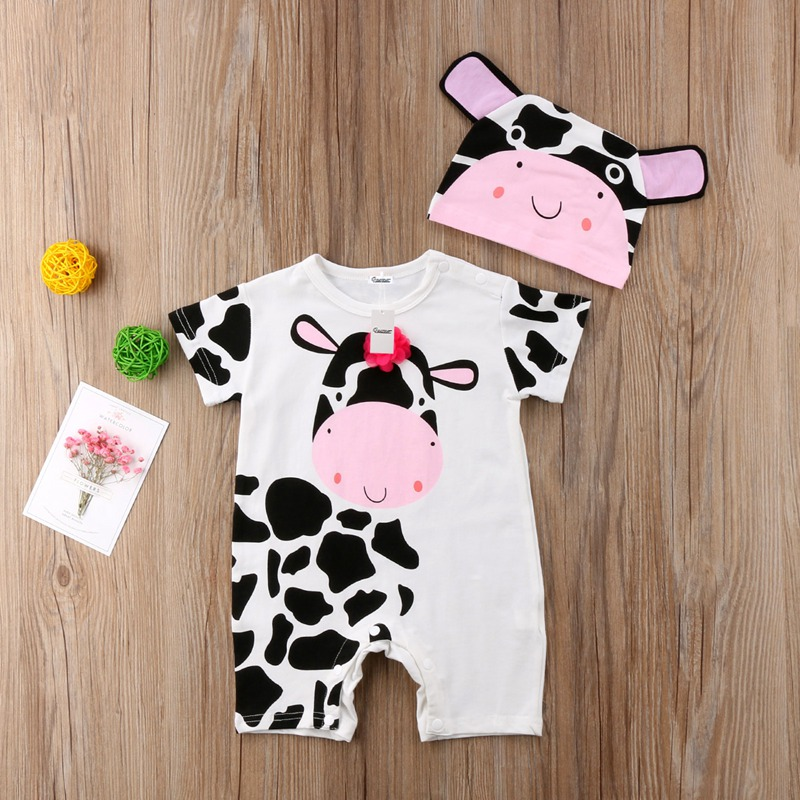 0-24M Newborn Baby Clothes Romper Boys Girls Cute Floral Cows Print Rompers Unisex Outfits 2pcs Set