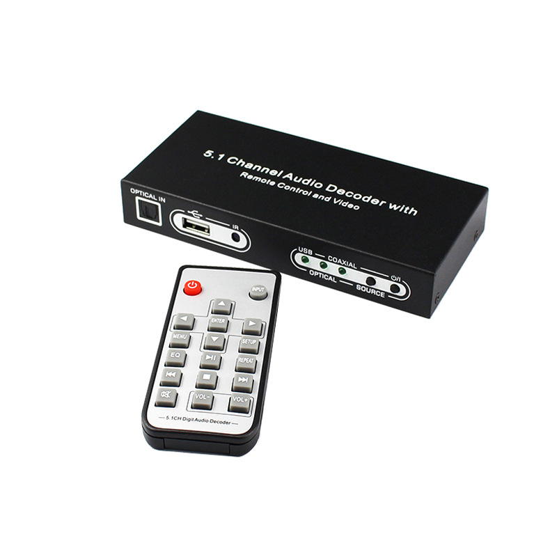 5.1 Channel Audio Decoder Optical SPDIF Toslink Coaxial To 5.1CH Analog RCA Audio Converter with USB CVBS W/ Remote Power Plug
