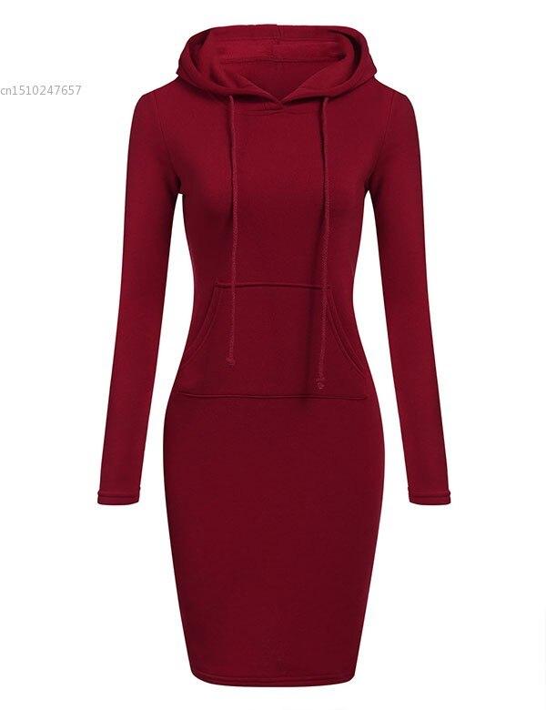 0b72b9e8f64 2019 Automne Hiver sweats à capuche chauds robe pour femmes Mode Mince À  Capuchon à manches longues Solide Crayon robe à capuche moulante robe  moulante