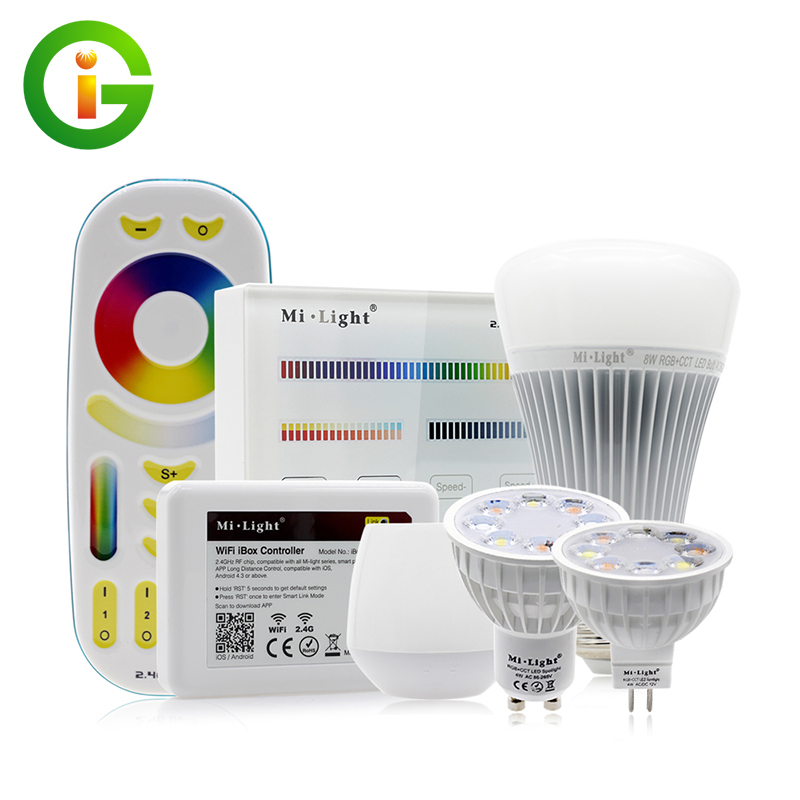 Mi-Light Full Color LED Bulb LED Spotlight GU10 MR16 4W E27 8W RGB+CW+WW Remote Control Smart Lighting smart bulb e27 7w led bulb energy saving lamp color changeable smart bulb led lighting for iphone android home bedroom lighitng