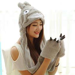 Мягкий дамы для детей и подростков диких животных, плюшевые шляпа с капюшоном шарф Длинный Варежки карман