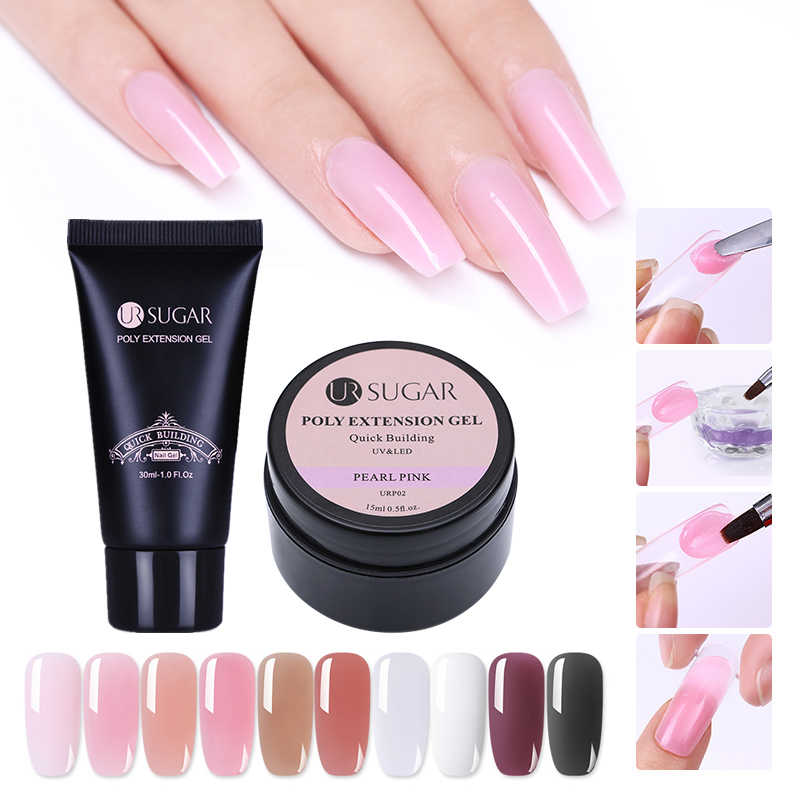 Ur Suiker Poly Extension Gel Vinger Uitbreiding Crystal Jelly Nail Gel Uv Led Hard Gel Acryl Builder Nail Art Gel