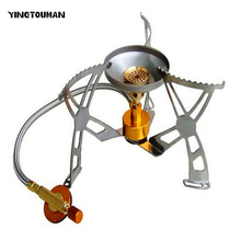 YINGTOUMAN 15.2*15.2*9.5cm Portable Camping Gas Stove Windproof Outdoor Cooker Burning Stoves with electronic lighter