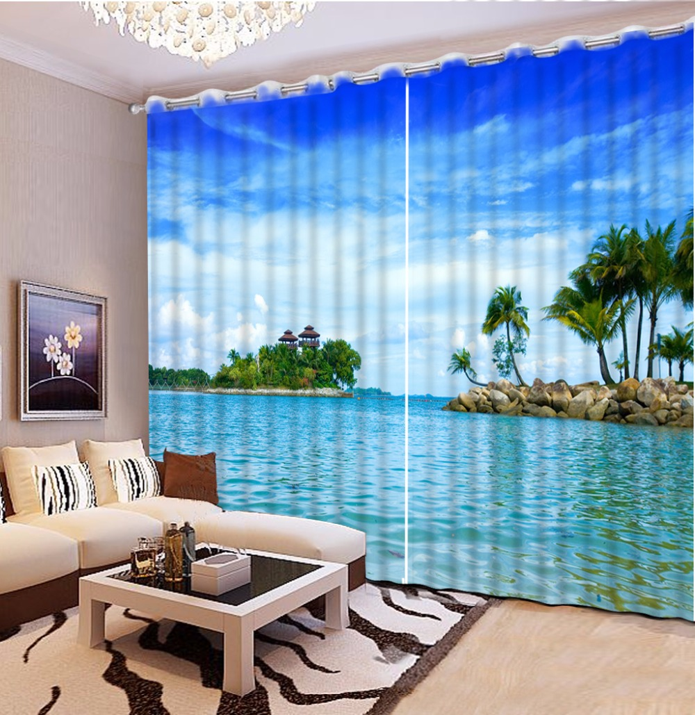 Fashion Home Decoration Window Curtains Love Sea 3D Drapes For Living Room Bedroom Digital Printing Curtain