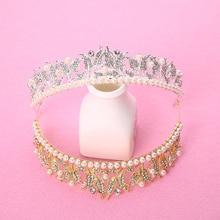 Elegant Hairband Women Wedding Hair Accessories Bridal Pearl Crown Crystal Tiara Gold Silver Headwear Plant Shape Head Jewelry