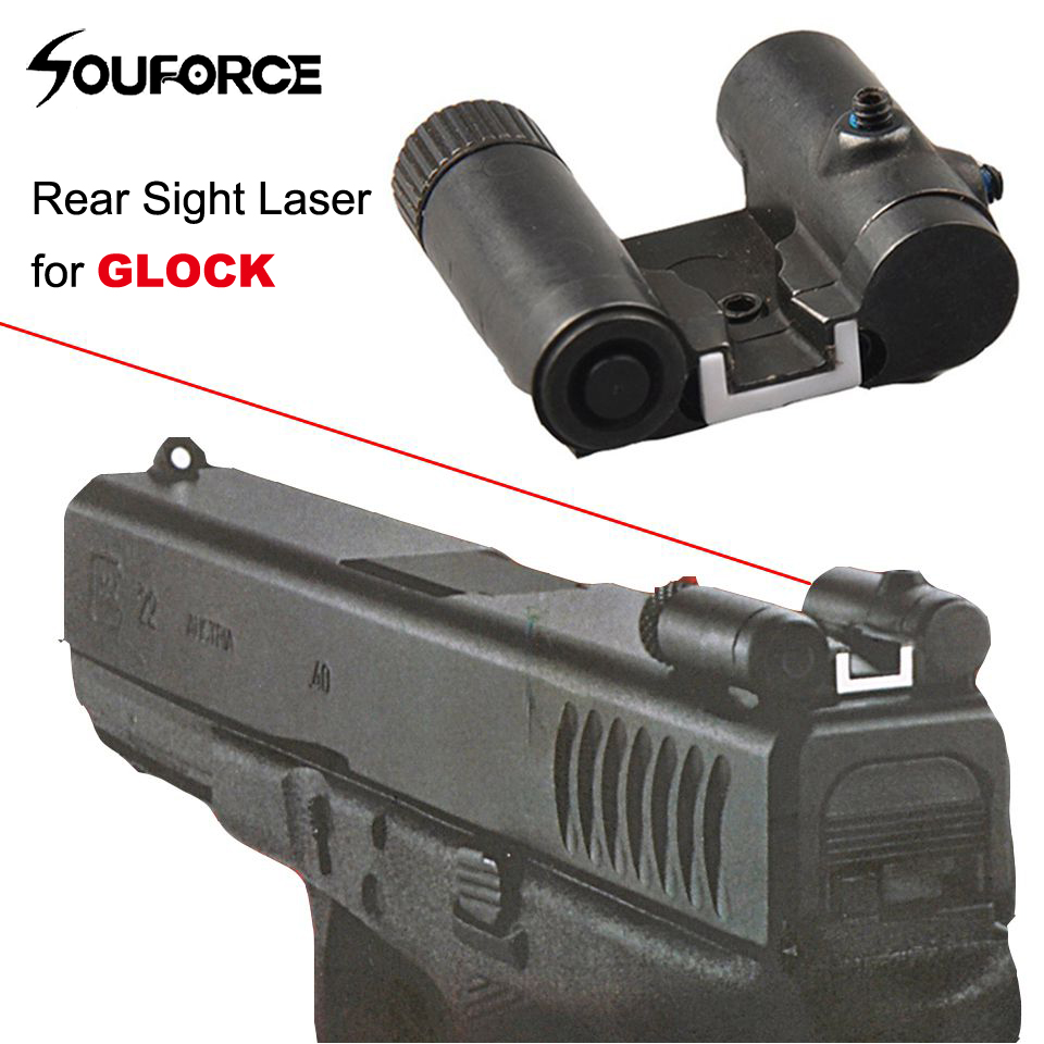 Tactical Mini Steel Rear Red Laser Sight For Glock 17 19 ...