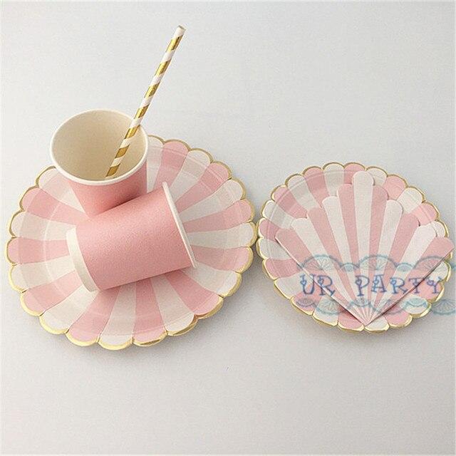 32 Sets Pink Gold Foil Tableware Paper Beverage Napkins Cups Straws Striped Dinner Plates