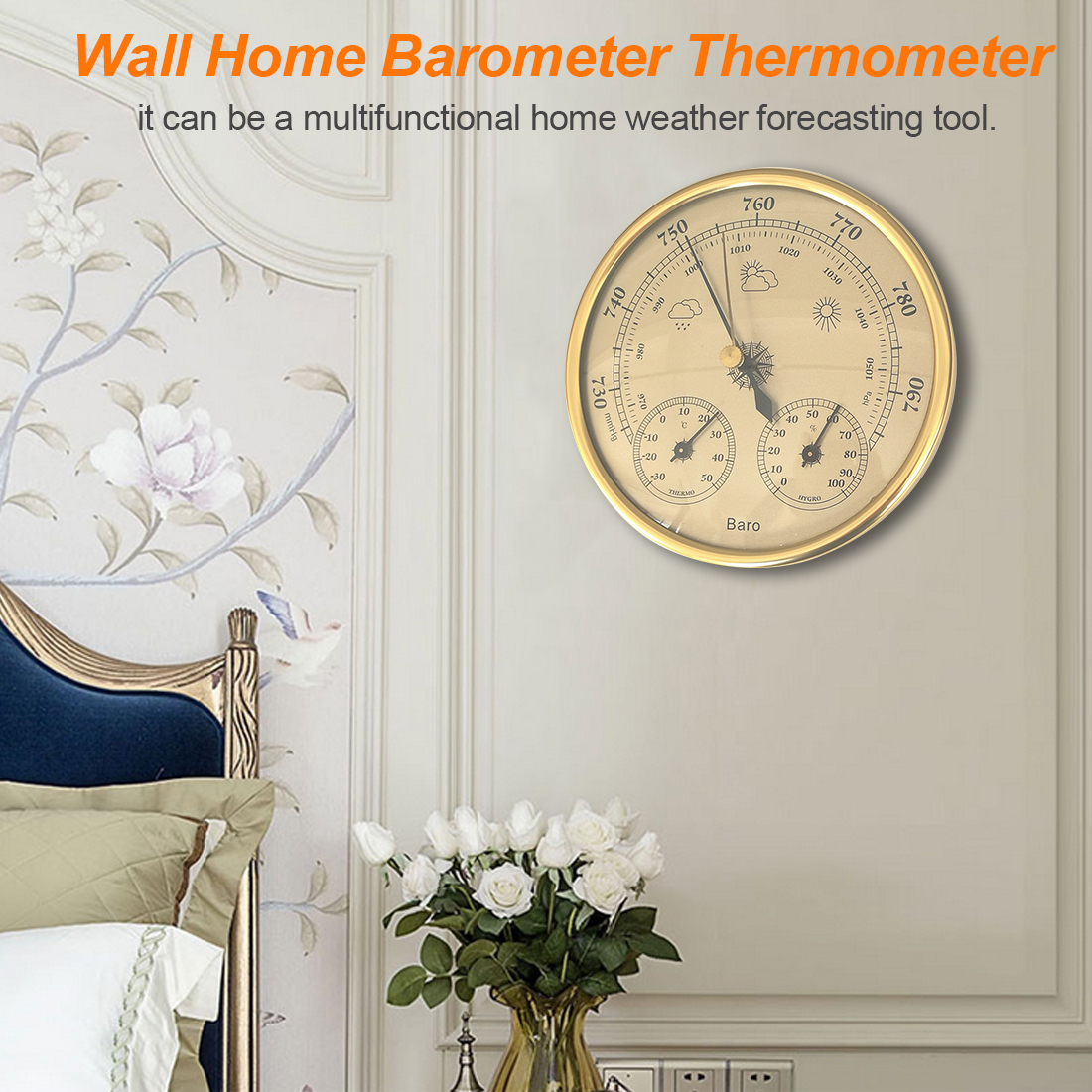 1pc Wall Mounted Household Barometer Thermometer Hygrometer Weather Station Hanging Instrument
