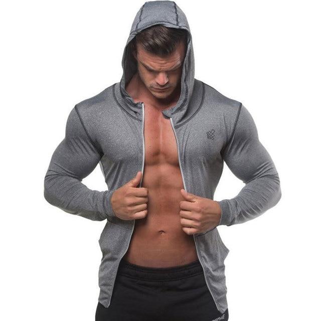 גברים פיתוח גוף הסווטשרט חדרי כושר כושר הדוק רוכסן סווטשירט איש סתיו חדש מקרית סלעית מעיל זכר Jogger אימון בגדים