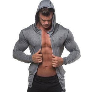Image 1 - Men Bodybuilding Hoodie Gyms Fitness Tight Zipper Sweatshirt Man Autumn New Casual Hooded Jacket Male Jogger Workout Clothing