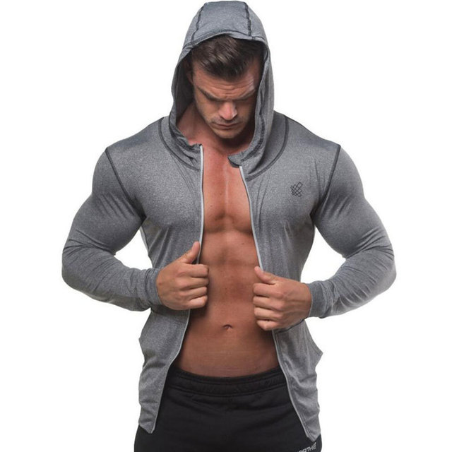 Men Bodybuilding Hoodie Gyms Fitness Tight Zipper Sweatshirt Man Autumn New Casual Hooded Jacket Male Jogger Workout Clothing