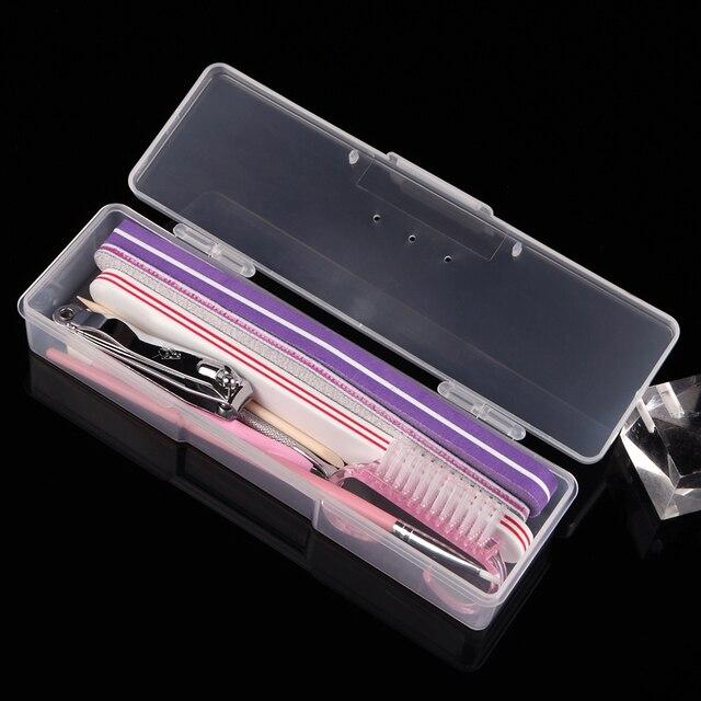Rechteck Nail Art Werkzeug Leere Aufbewahrungsbox Kunststoff Pinzette Clippers Stifte Nagelhautschieber Polieren Buffer Feilen Streifen Container