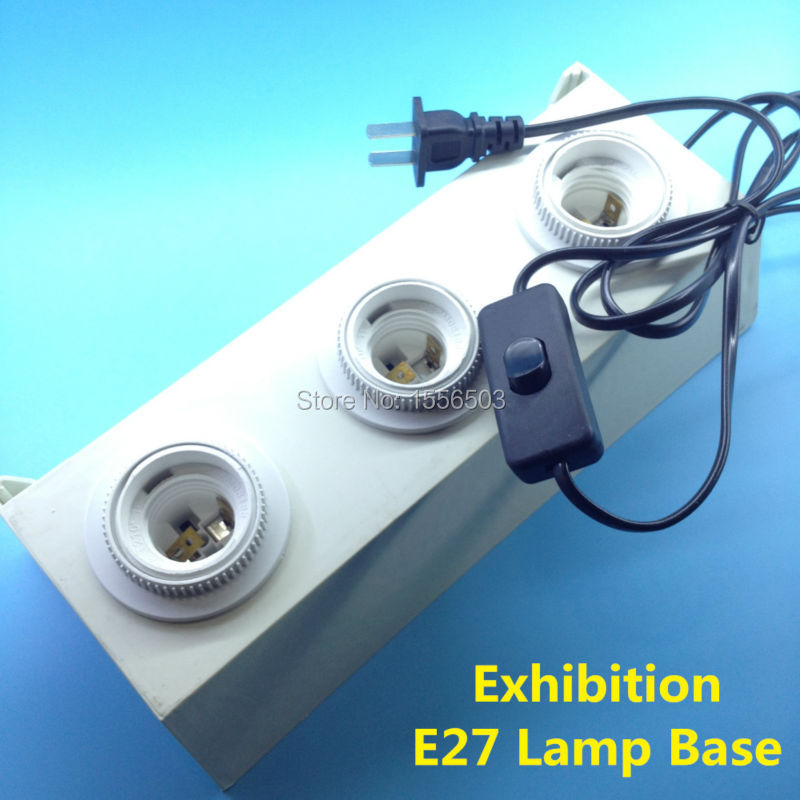 E27 Lamp Display Holder 3 Heads E27 Screw Socket Lights Test Bulb Lamp Base Adapter With Switch Plug Cord EU Exhibition Showcase 7 colors optional beige floral wallpaper damask wallpaper pvc wall murals free shipping best wallpaper qz0314