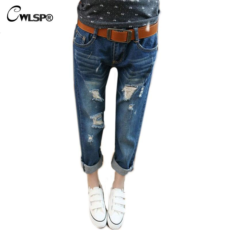 CWLSP 2017  Summer Mid Waist  Women Pants Casual Ankle-Length Ripped Pants Best Friend Capris Female Pants Plus size 5XL