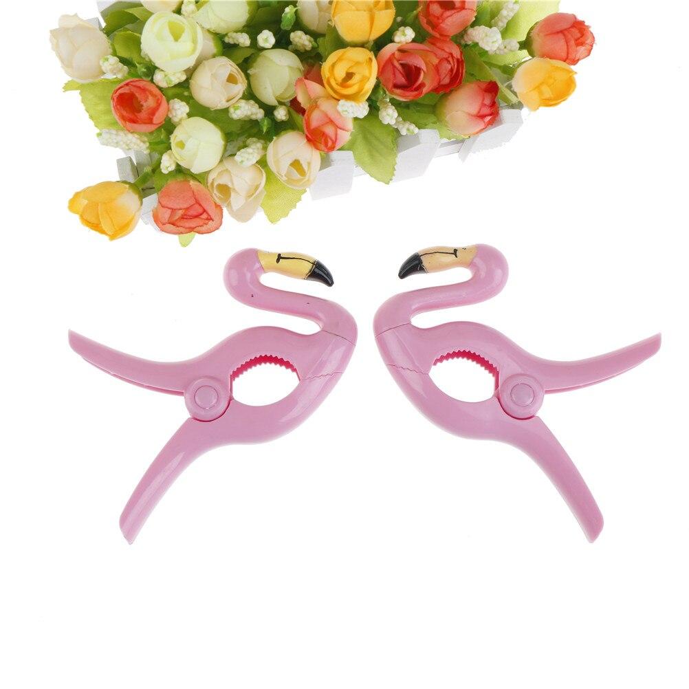 Openhartig 1 St Plastic Strandlaken Clips Houden Uw Handdoek Van Blazen Weg Flamingo Ontworpen Heldere Kleuren 14x9 Cm