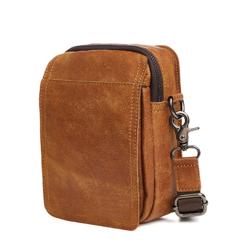 yellow brown Men belt Bag Waist Bag Genuine leather Fashion Crossbody Leather Messenger Bags Vintage casual small shoulder bag westal men s travel phone chest pack genuine leather men bag men messenger shoulder bags leather belt waist bag crossbody bags
