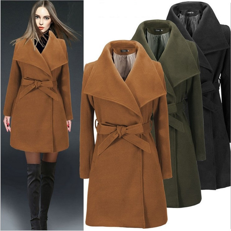 New Autumn Winter Women Coat Plus Size Fashion Big Turn-Down Collar Belt Slim Solid Woolen Blends Coat For Women Large Outerwear